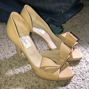 Valentino Couture Peep Toe Bow Pumps